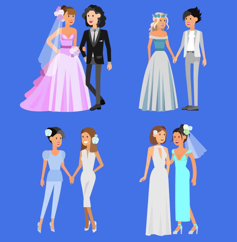 vestidos y trajes de bodas para lesbianas